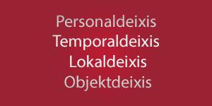 Thumbnail: Personaldeixis, Temporaldeixis, Lokaldeixis, Objektdeixis